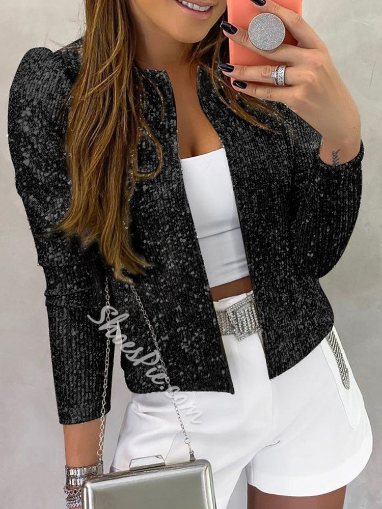 Sequins Puff sleeve Casual Women's Jacket