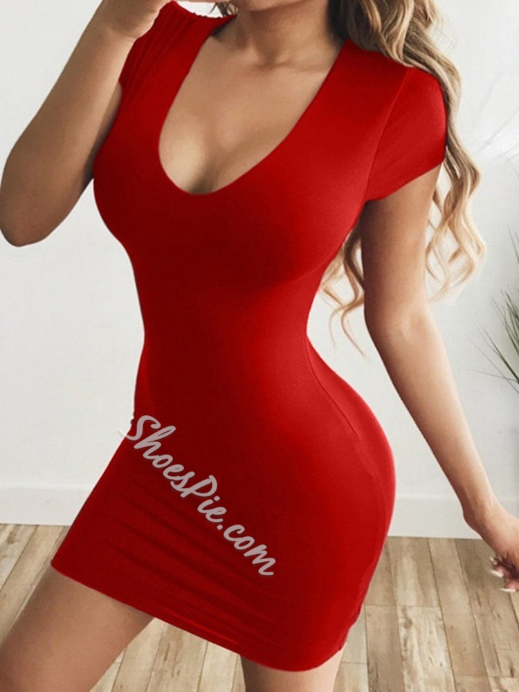Red Casual U-Neck Short Sleeve Above Knee Bpdycon Women's Dress