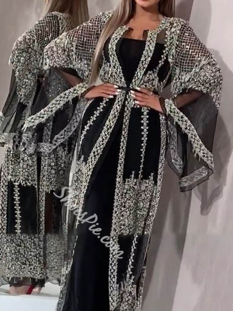 Sequins Stylish Mesh Long Sleeve Casual Women's Trench Coat