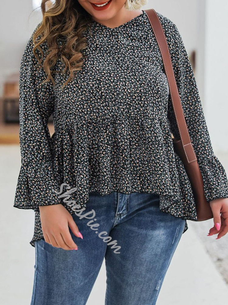 Plus Size Flare Sleeve Falbala Floral Black Women's Blouse