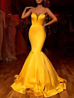 Yellow Floor-Length Sleeveless Elegant Mermaid Women's Dress