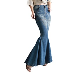 Denim Blue Button Floor-Length Mermaid Western Women's Skirt