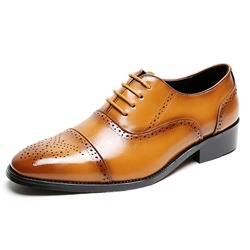 Shoespie Men's Low-Cut Upper Plain Round Toe Leather Shoes