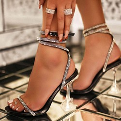 Shoespie Sexy Rhinestone Buckle Open Toe Western Sandals