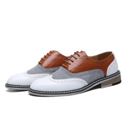 Shoespie Men's Color Block Low-Cut Upper PU Leather Shoes