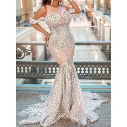 Cold Shoulder Round Neck Rhinestone See-Through Mermaid Women's Dress