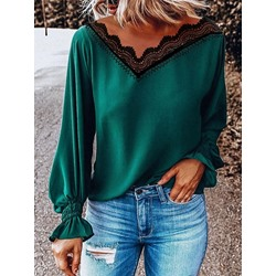 Lace Lantern Sleeve Patchwork V-Neck Women's Blouse