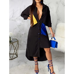 Asymmetric Lapel Loose Single-Breasted Women's Dress