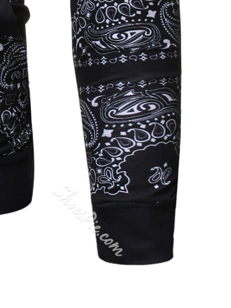 Print Pullover Slim Hooded Hoodies