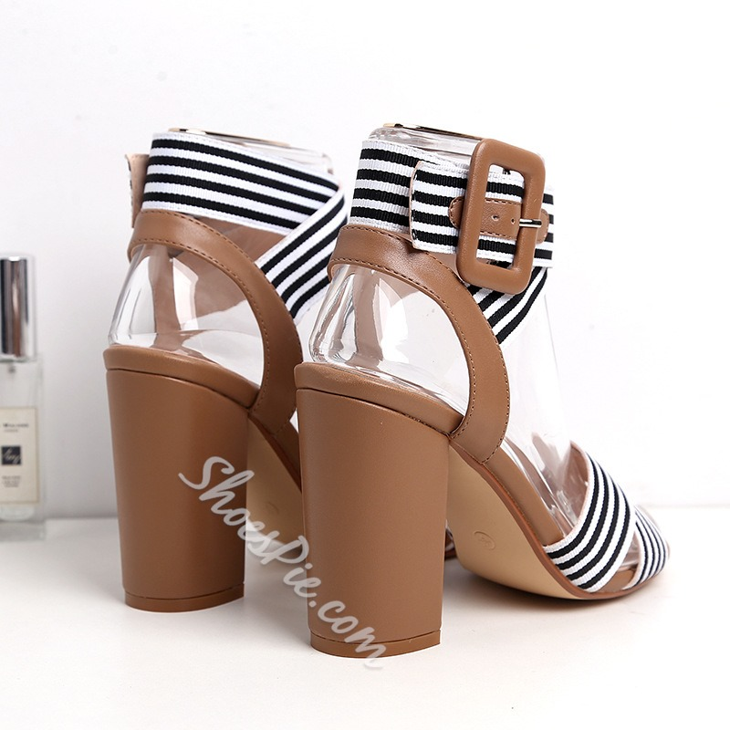 Shoespie Trendy Chunky Heel Buckle Open Toe Thread Sandals