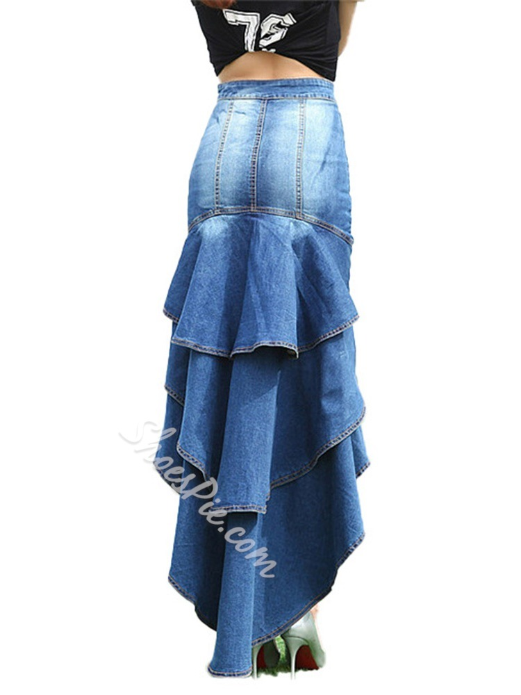 Floor-Length Falbala Asymmetrical Denim Blue Women's Skirt