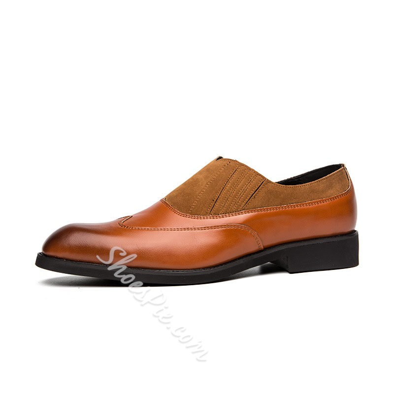 Shoespie Men's Low-Cut Upper Patchwork Round Toe Leather Shoes