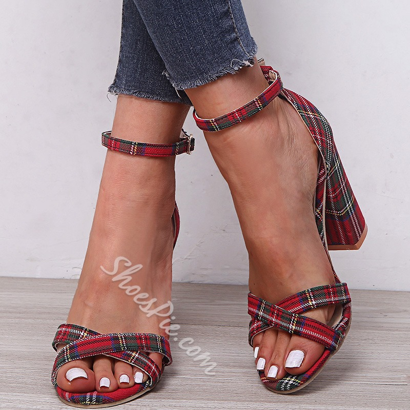 Shoespie Trendy Open Toe Chunky Heel Heel Covering Buckle Sandals