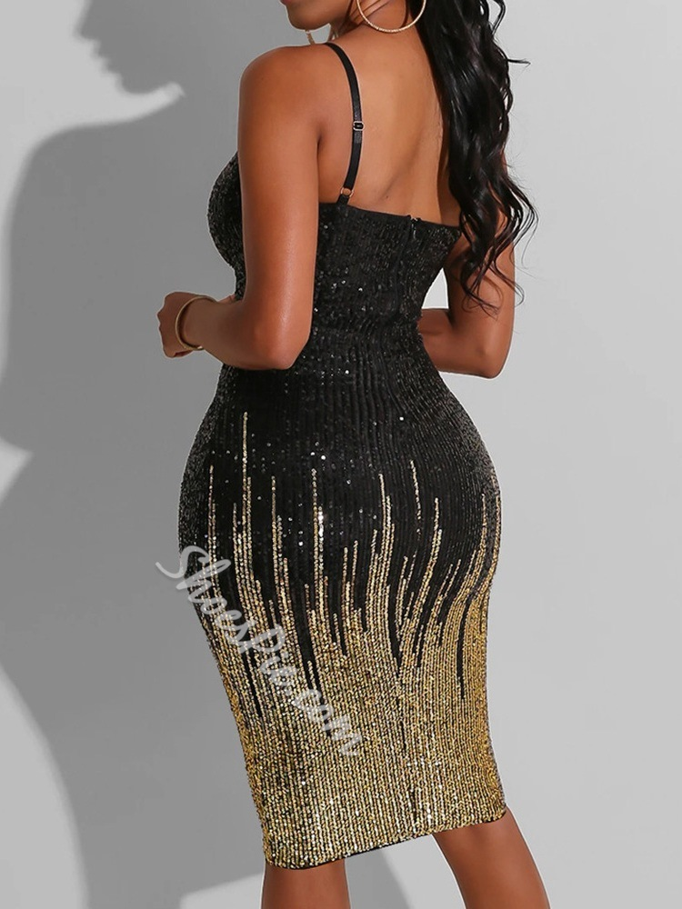 Black Sequins Spaghetti Strap Sleeveless Bodycon Women's Dress