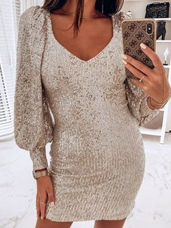 V-Neck Sequins Lantern Sleeve Sexy Bodycon Women's Dress