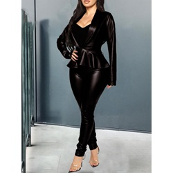 Black V-Neck Coat Pencil Pants Women's Two Piece Sets
