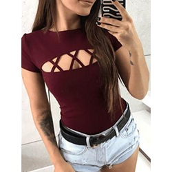 Casual Burgundy Short Sleeve Hollow Women's T-Shirt