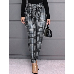 Bowknot Plaid Skinny Print Pencil Pants Women's Casual Pants