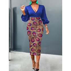 Print V-Neck Mid-Calf Lantern Sleeve Pullover Women's Dress