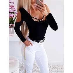 Bead Black Hollow U-Neck Long Sleeve Casual Women's T-Shirt