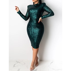 Green Sequins Long Sleeve Stand Collar Pullover Women's Dress