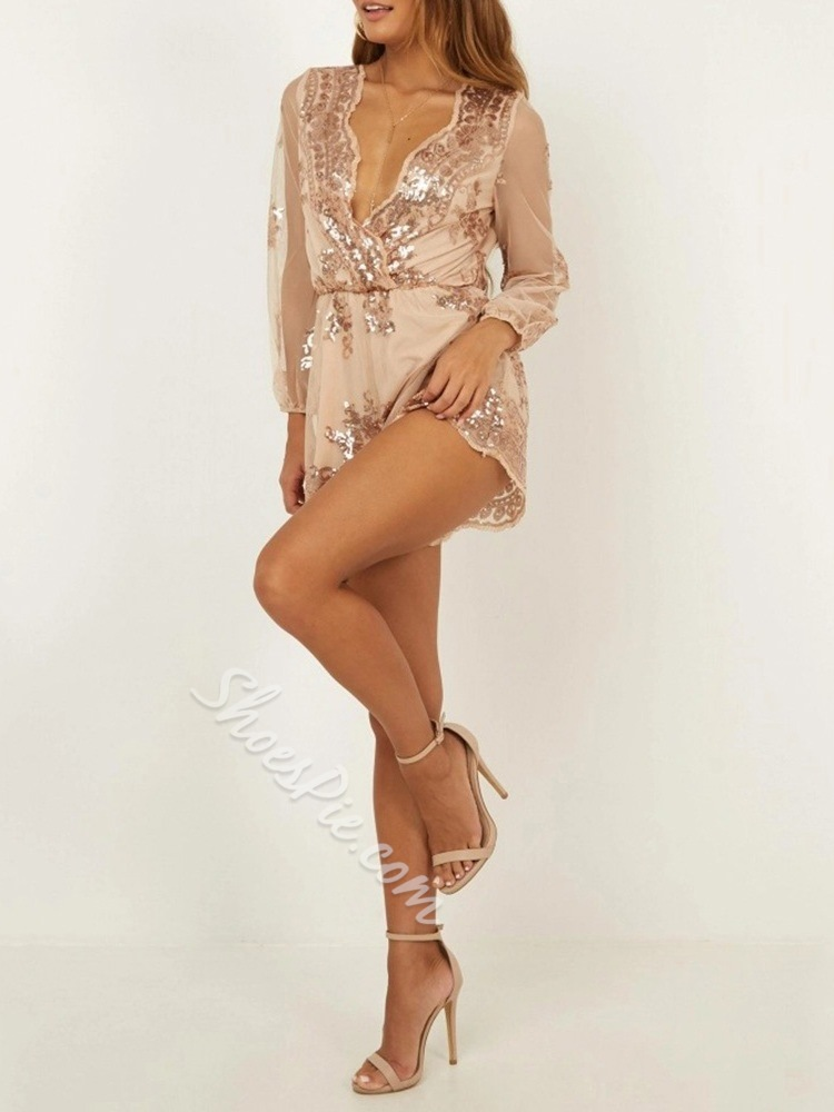 Sexy Geometric Sequins Wide Legs V-Neck Women's Romper