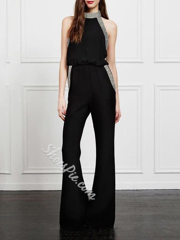 Sequins Sleeveless Backless Bellbottoms Slim Women's Jumpsuit