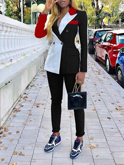 Notched Lapel Double-Breasted Color Block Coat Women's Two Piece Sets