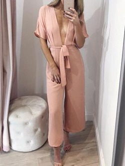 Casual Loose Short Sleeve V-Neck Women's Jumpsuit