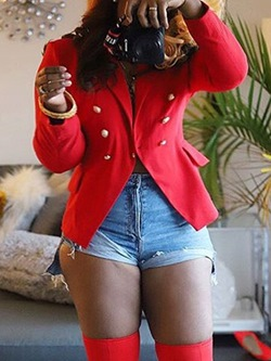 Red Button Long Sleeve Notched Lapel Women's Casual Blazer