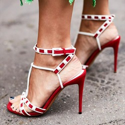 Shoespie Stylish Stiletto Heel Open Toe Line-Style Buckle Thread Sandals