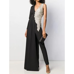 Elegant Color Block V-Neck Asymmetric Slim Women's Jumpsuit