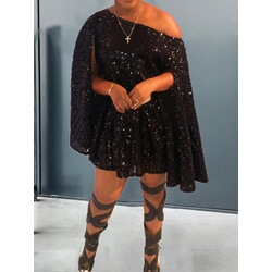 Black Sequins Long Sleeve Above Knee Off Shoulder Women's Dress