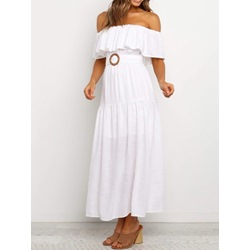 Casual White Ankle-Length Short Sleeve Off Shoulder Belt Falbala Women's Dress