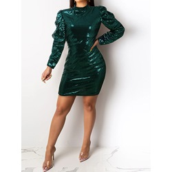 Elegant Green Stand Collar Puff Sleeve Sequins Pleated Women's Dress