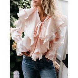 Pink Ruffled Collar Bowknot Flare Sleeve Women's Blouse