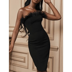 Black Strapless Elegant Feather Sleeveless Mid-Calf Party Women's Dress