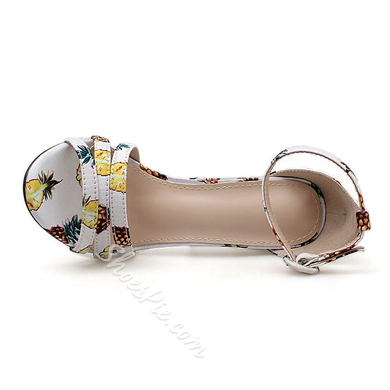 Shoespie Trendy Line-Style Buckle Chunky Heel Open Toe Color Block Sandals