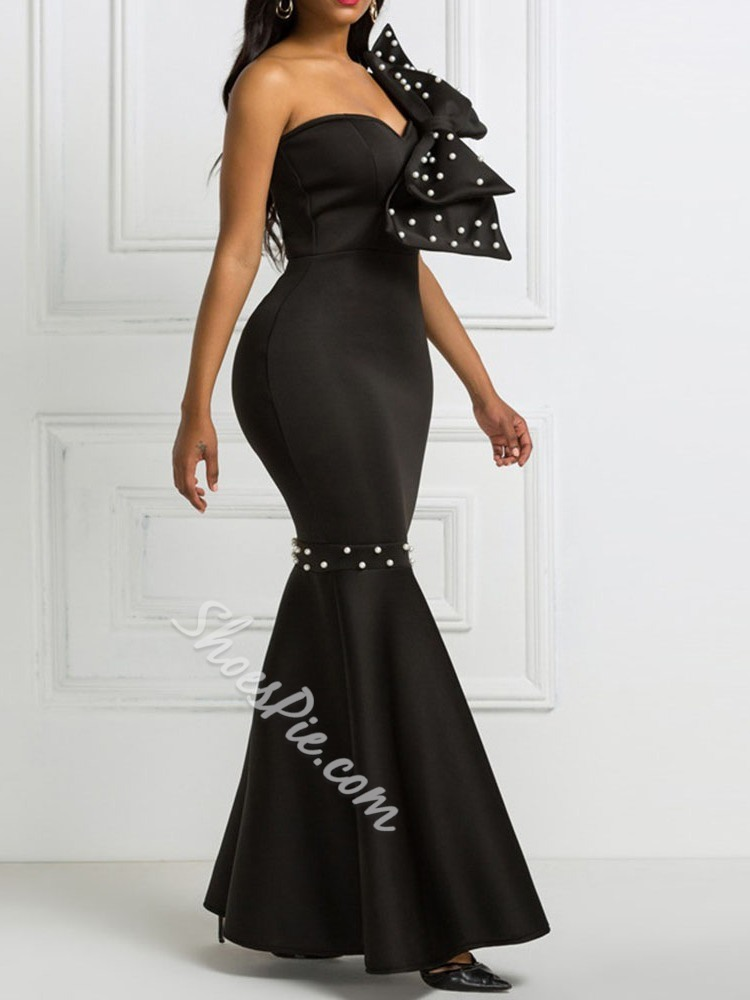 Black Sleeveless Bowknot Bead Floor-Length Mermaid Women's Dress
