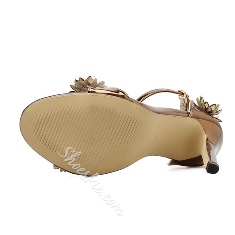 Shoespie Stylish Open Toe Heel Covering Line-Style Buckle Appliques Sandals