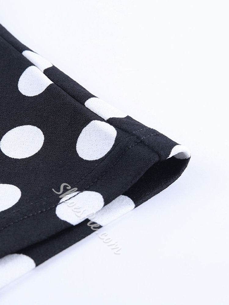 Square Neck Polka Dots Puff Sleeve Women's Blouse