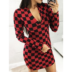 Plaid Print Long Sleeve V-Neck Above Knee Mid Waist Women's Dress