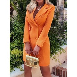Double-Breasted Long Sleeve Notched Lapel A-Line Women's Dress