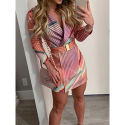 Notched Lapel Belt Long Sleeve Stripe Print Women's Dress