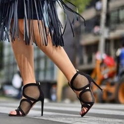 Shoespie Stylish Stiletto Heel Open Toe Heel Covering Thread Sandals