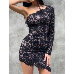 Black Asymmetric Long Sleeve Oblique Collar Lace Women's Dress