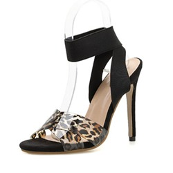Shoespie Sexy Elastic Band Open Toe Stiletto Heel Leopard Sandals