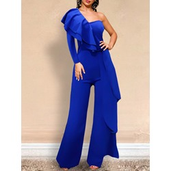 Blue Falbala One Shoulder Full Length Loose Women's Jumpsuit
