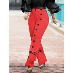 Button Loose Full Length Women's Casual Pants