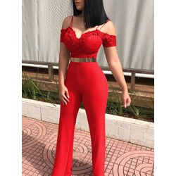 Appliques Lace Full Length Sexy Spaghetti Strap Women's Jumpsuit
